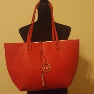 ❤EUC BCBG Red Reversible Faux Leather Tote Bag❤